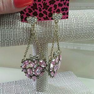 Betsey Johnson Earrings Pink Rhinestone Hearts